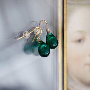 Green drop earrings- emerald-jade